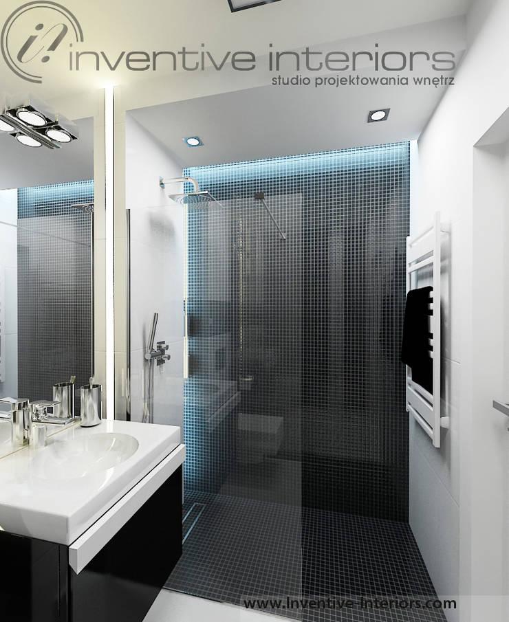 Biało czarna mała łazienka: styl , w kategorii Łazienka zaprojektowany przez Inventive Interiors