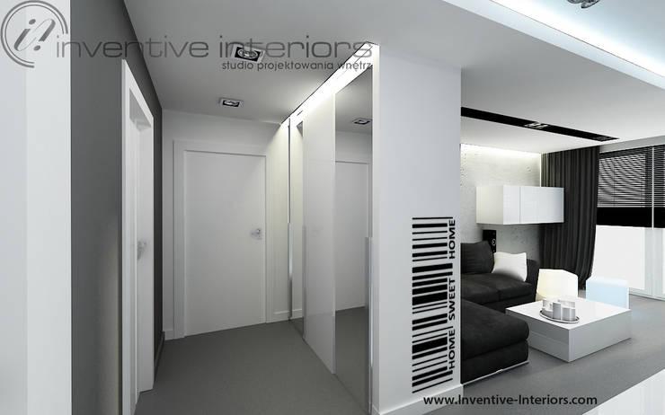 Biało szary przedpokój : styl , w kategorii Korytarz, przedpokój zaprojektowany przez Inventive Interiors
