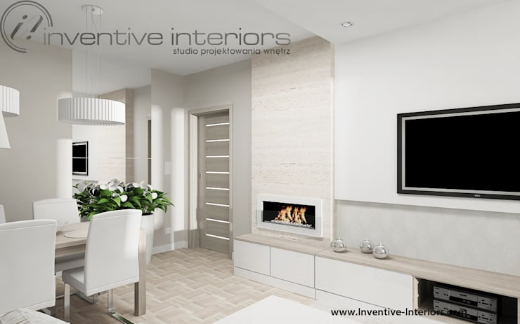 Jasny beżowy salon: styl , w kategorii Salon zaprojektowany przez Inventive Interiors,Nowoczesny