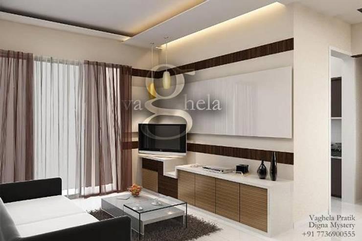 Living Room: modern Living room by Vaghela interiors