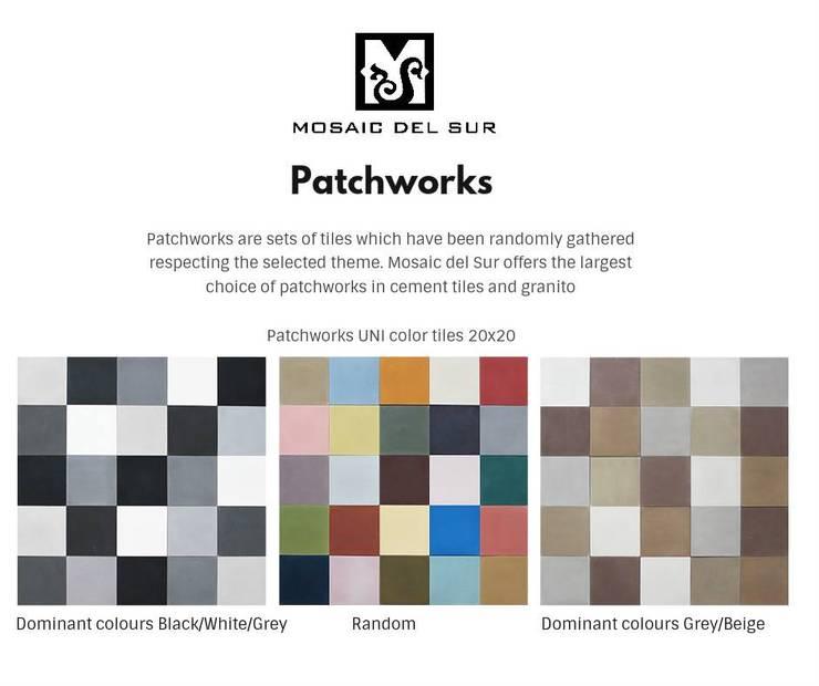 Patchwork Lisos: Parede e piso  por MOSAIC DEL SUR