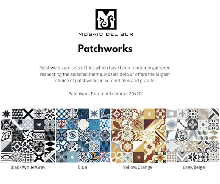 Patchwork Aliatório: Parede e piso  por MOSAIC DEL SUR