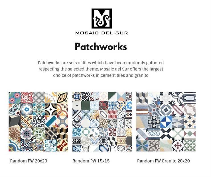 Patchwork Aleatório: Parede e piso  por MOSAIC DEL SUR