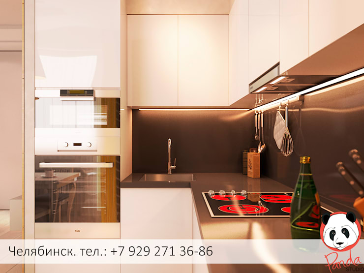 Colourful living room: modern Kitchen by Panda Studio