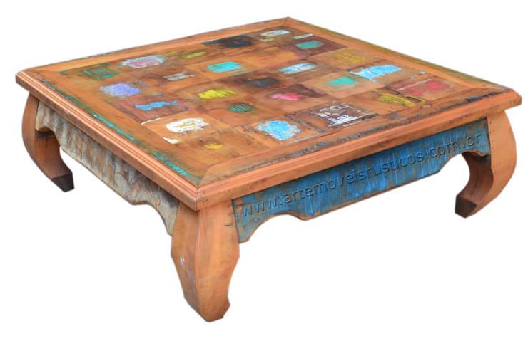 Mesas de Centro Rústica em madeira de demolição (peroba rosa): Sala de estar  por Arte Móveis Rústicos