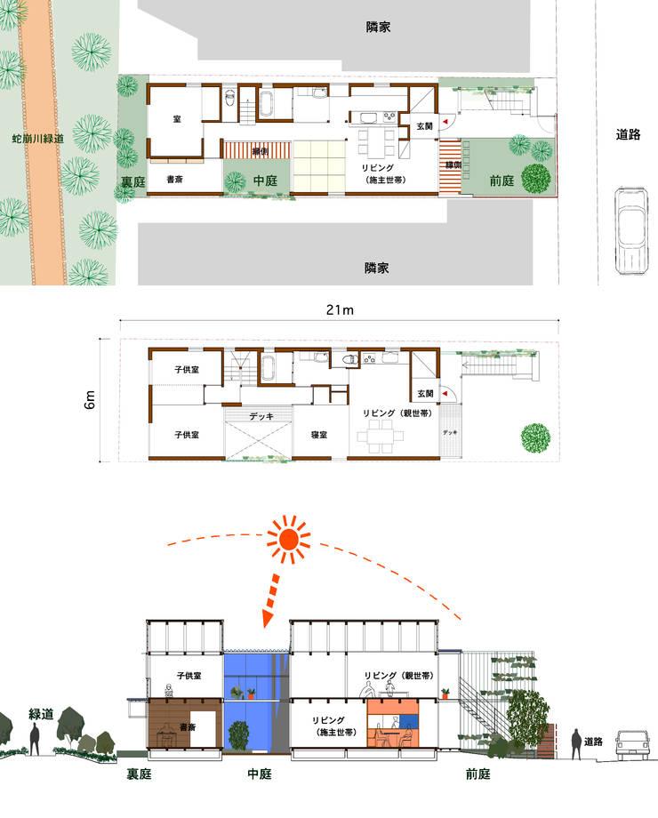 細長敷地の二世帯住宅: ユミラ建築設計室が手掛けたです。