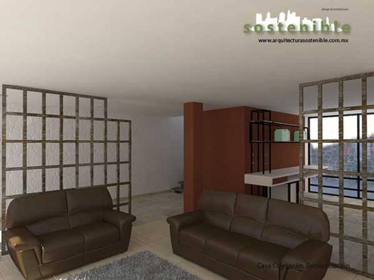 Casa Coyoacán: Salas de estilo  por ARQUITECTURA SOSTENIBLE