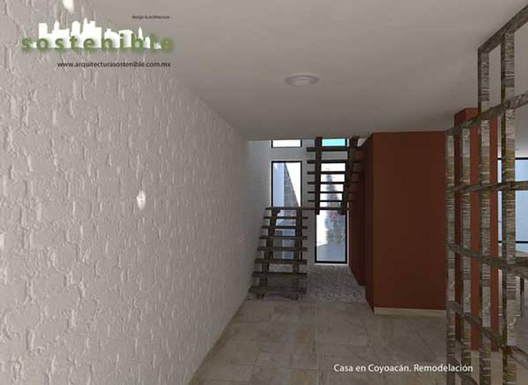 Casa Coyoacán: Pasillos y recibidores de estilo  por ARQUITECTURA SOSTENIBLE