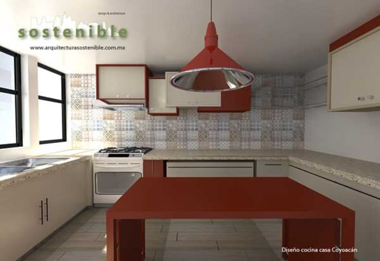 Casa Coyoacán: Cocinas de estilo  por ARQUITECTURA SOSTENIBLE