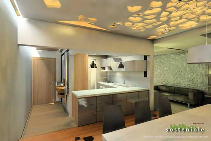 Departamento Colonia del Valle: Pasillos y recibidores de estilo  por ARQUITECTURA SOSTENIBLE