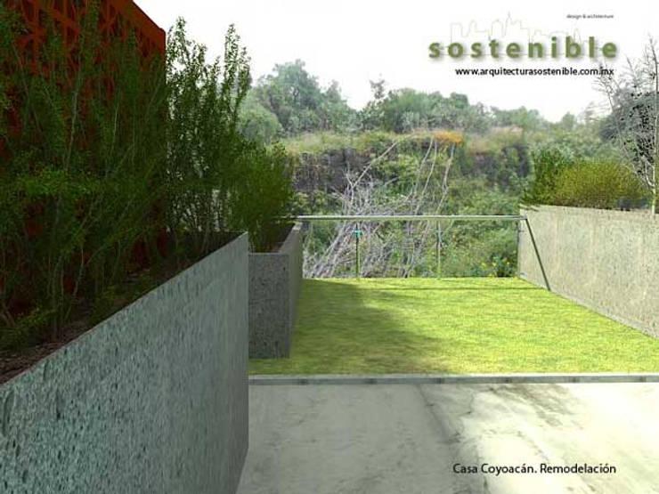 Casa Coyoacán: Jardines de estilo  por ARQUITECTURA SOSTENIBLE
