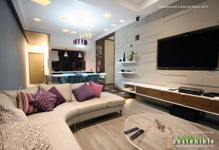 Departamento Colonia del Valle: Salas de estilo  por ARQUITECTURA SOSTENIBLE
