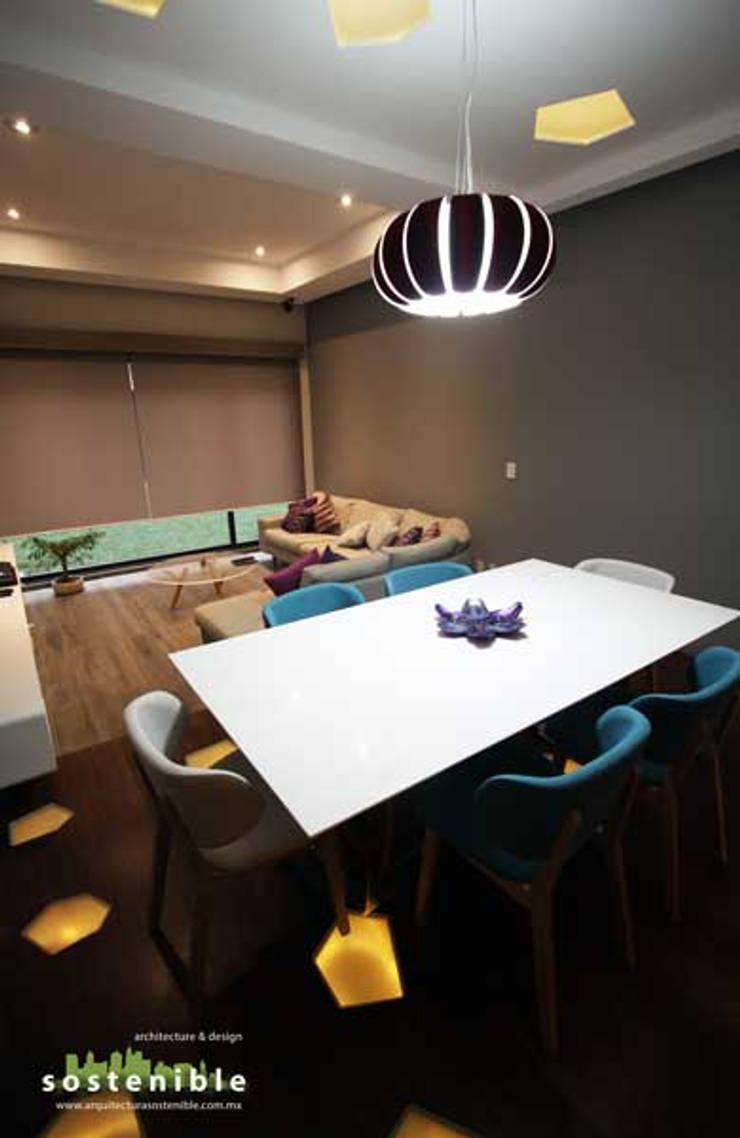 Departamento Colonia del Valle: Comedores de estilo  por ARQUITECTURA SOSTENIBLE
