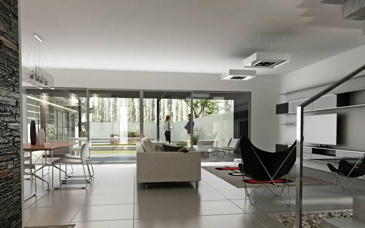 Vivienda en Rincon de Emilio, Neuquen Capital, Argentina: Livings de estilo  por Chazarreta-Tohus-Almendra