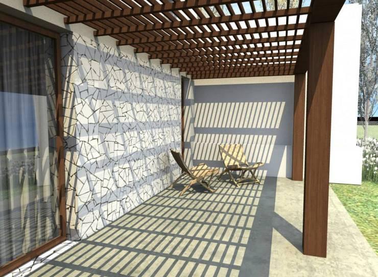 Casa La Budita: Terrazas de estilo  por LAGOS & MIDDLETON arquitectos asociados,Moderno