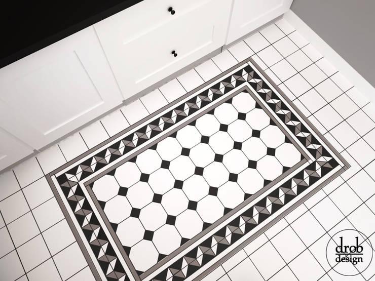 Kuchnia w stylu klasycznym - mieszkanie w Lublinie. Widok na podłogę.: styl , w kategorii Kuchnia zaprojektowany przez Drob Design ,Klasyczny Ceramiczny