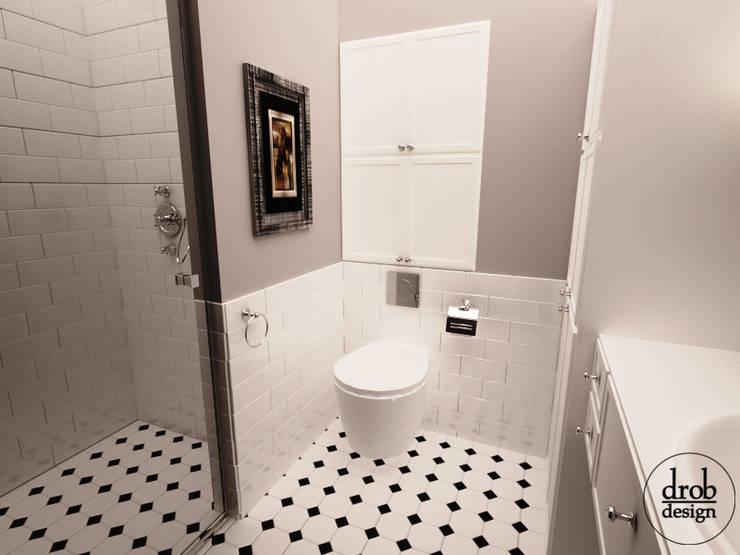 Łazienka retro. Mieszkanie w Lublinie. Widok na wc.: styl , w kategorii Łazienka zaprojektowany przez Drob Design ,Klasyczny Ceramiczny