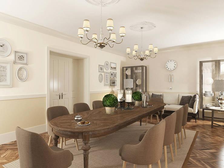 Столовая в неоклассике Столовая комната в классическом стиле от OK Interior Design Классический