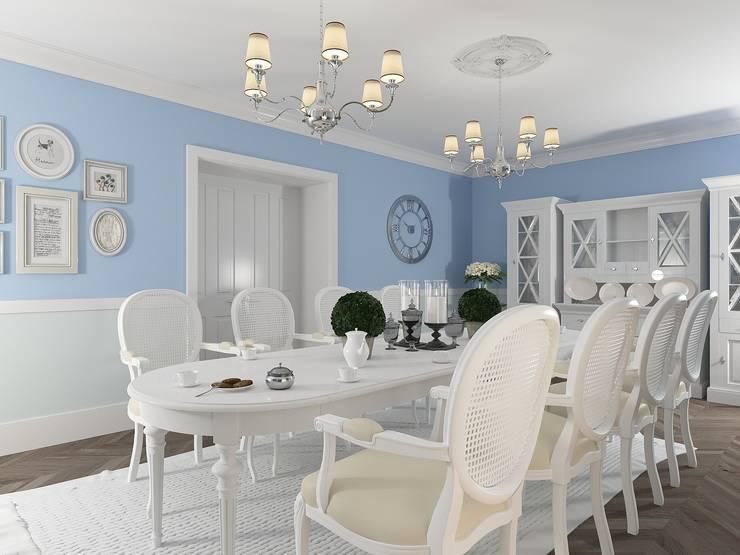 Столовая с элементами прованса Столовая комната в классическом стиле от OK Interior Design Классический