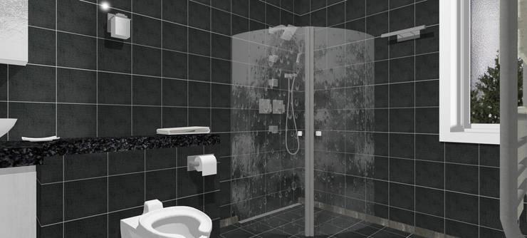Casa Ladera - estilo escandinavo: Baños de estilo escandinavo por A3D-Projection S.A.S.