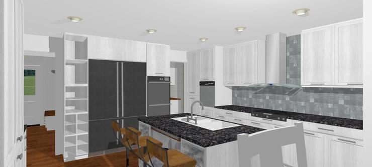 Casa Ladera – estilo escandinavo: Cocinas de estilo  por A3D-Projection S.A.S.