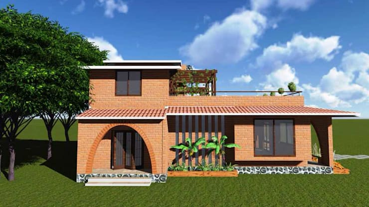 eco-friendly bunglow by Ar.Ankit Kankariya:  Houses by Kankariya Developers