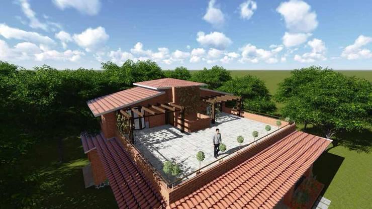 eco-friendly bunglow by Ar.Ankit Kankariya:  Terrace by Kankariya Developers