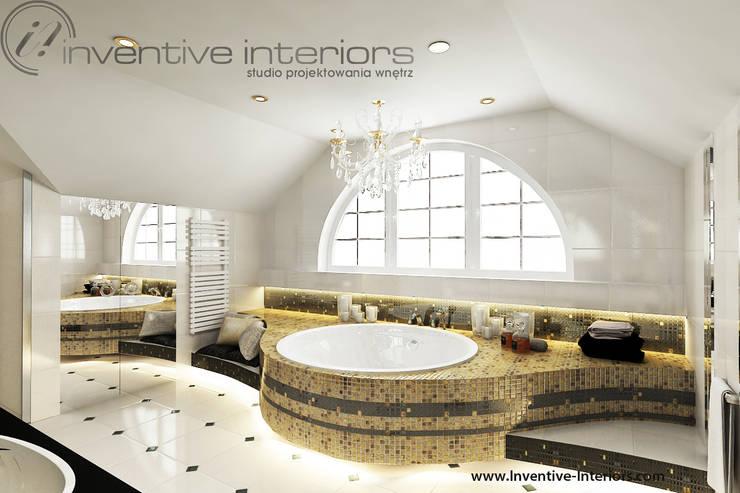 Złoto w łazience: styl , w kategorii Łazienka zaprojektowany przez Inventive Interiors