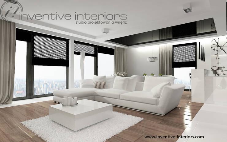 Biały narożnik  w salonie: styl , w kategorii Salon zaprojektowany przez Inventive Interiors,Nowoczesny