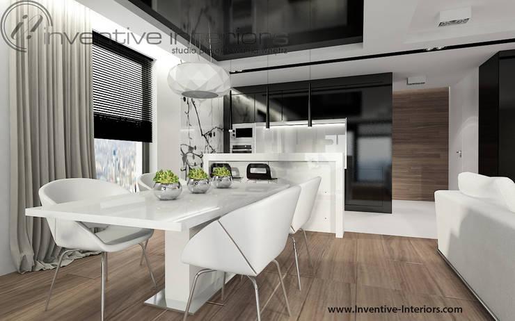 Biało czarna kuchnia: styl , w kategorii Kuchnia zaprojektowany przez Inventive Interiors,Nowoczesny Szkło