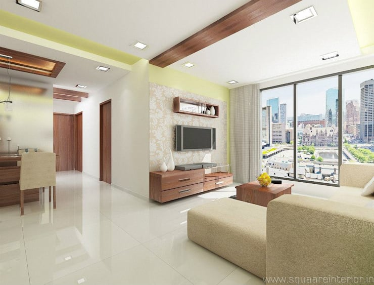 Rustomjee, Thane: modern Living room by suneil