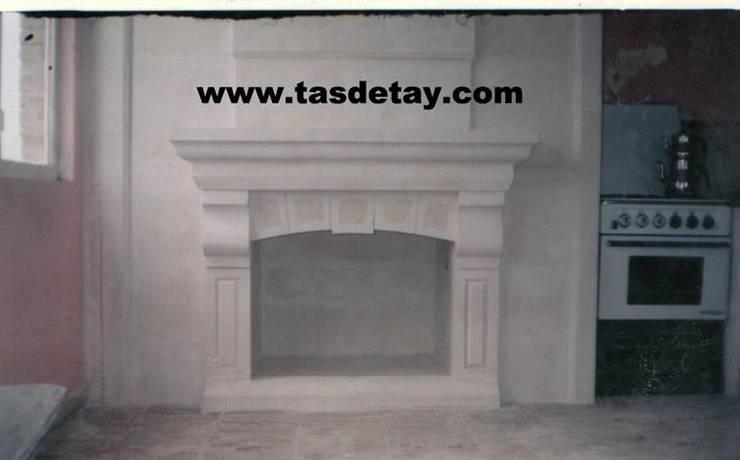 taş detay – Şömine Modeli 16: modern tarz Oturma Odası