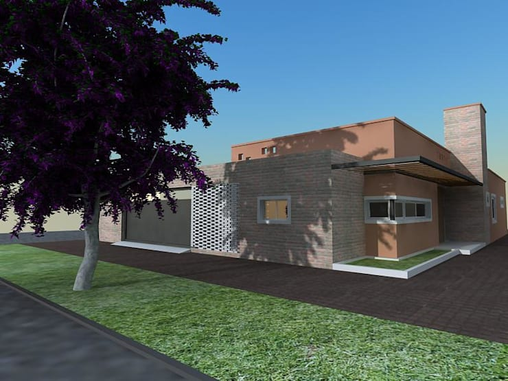 Casa Caro & Emi: Casas de estilo  por Aureo Arquitectura