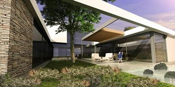 Vivienda en La Cascada Jardines modernos: Ideas, imágenes y decoración de Oviedo Serrano Arquitectos Moderno
