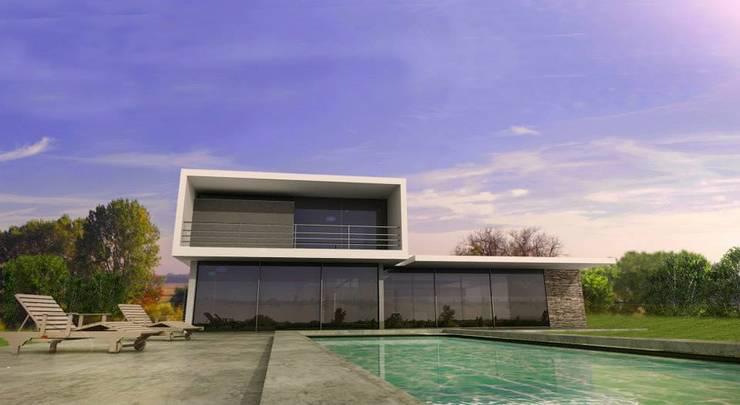Vivienda en La Cascada Piletas modernas: Ideas, imágenes y decoración de Oviedo Serrano Arquitectos Moderno