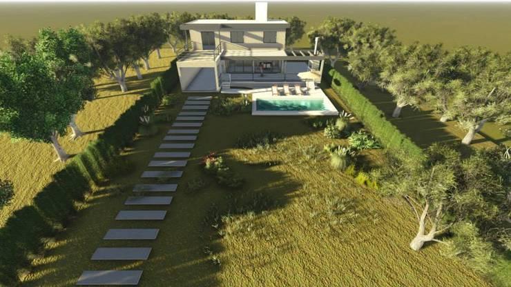 CASA MIRADOR DEL LAGO: Jardines de estilo  por MB Arquitectura.