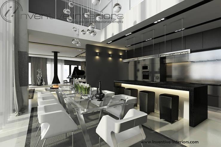 Szara jadalnia: styl , w kategorii Jadalnia zaprojektowany przez Inventive Interiors