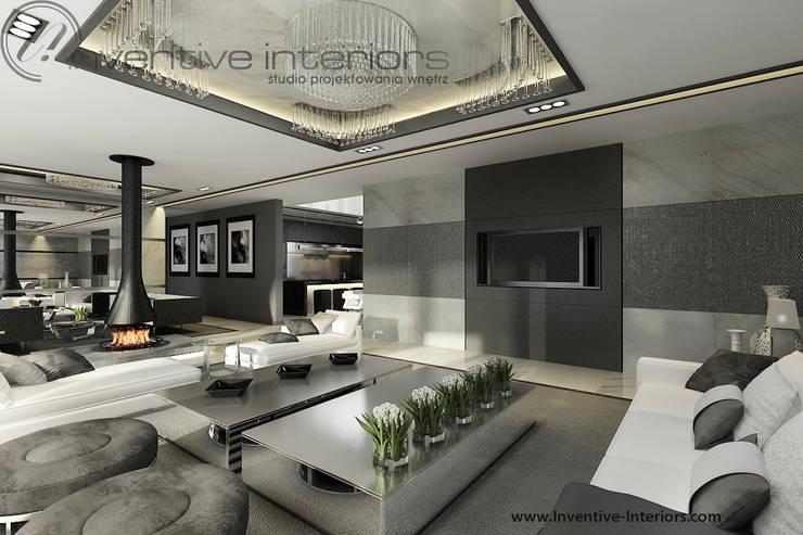 Szary salon: styl , w kategorii Salon zaprojektowany przez Inventive Interiors