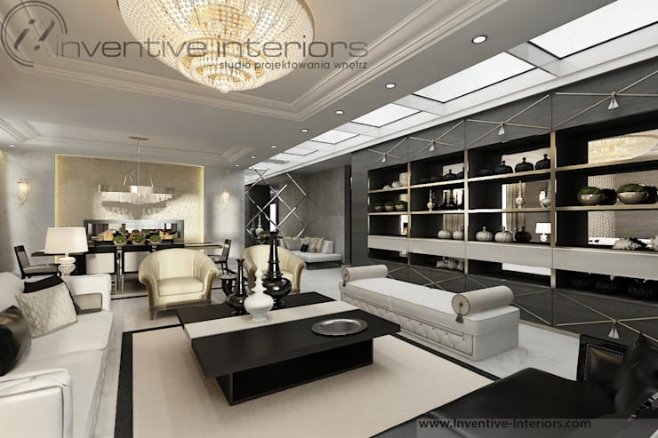 INVENTIVE INTERIORS – Projekt apartamentu ze złotem: styl , w kategorii Salon zaprojektowany przez Inventive Interiors,Klasyczny