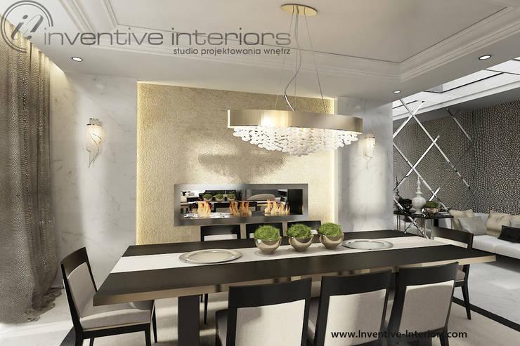 INVENTIVE INTERIORS – Projekt apartamentu ze złotem: styl , w kategorii Jadalnia zaprojektowany przez Inventive Interiors,Klasyczny