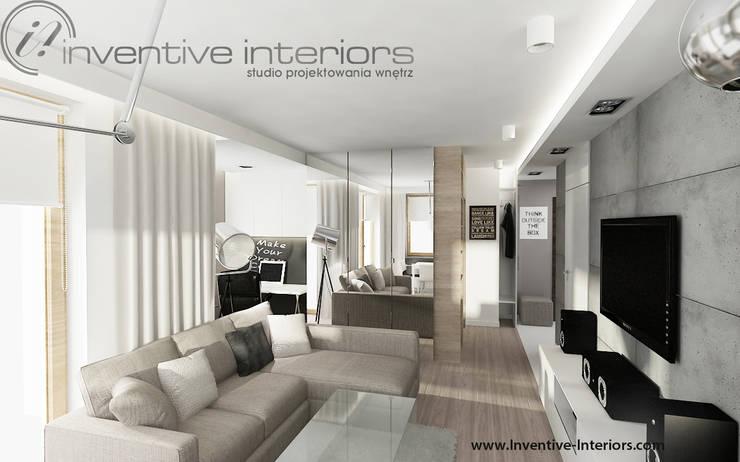 INVENTIVE INTERIORS - Męskie mieszkanie z betonem: styl , w kategorii Salon zaprojektowany przez Inventive Interiors