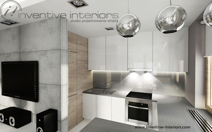 Biała kuchnia z szarym blatem: styl , w kategorii Kuchnia zaprojektowany przez Inventive Interiors