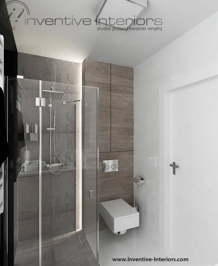 INVENTIVE INTERIORS – Męskie mieszkanie z betonem: styl , w kategorii Łazienka zaprojektowany przez Inventive Interiors