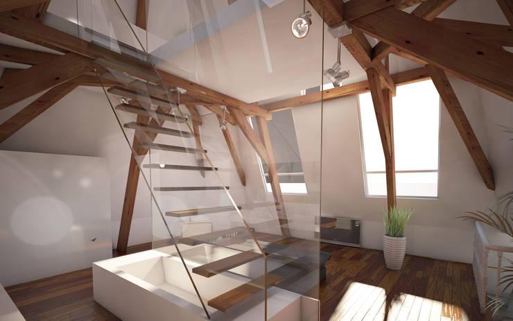 Penthouse TEMW Utrecht :  Gang en hal door 2architecten, Modern