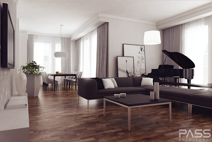 Projekt wnętrza w Lublinie /1: styl , w kategorii Salon zaprojektowany przez PASS architekci,Nowoczesny