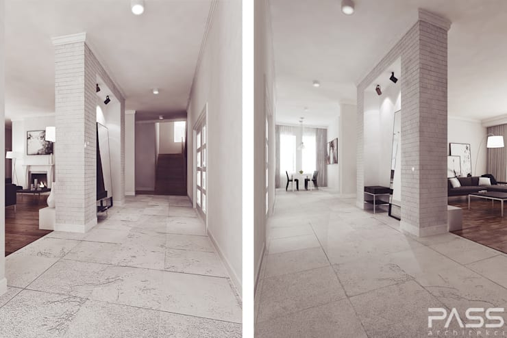 Projekt wnętrza w Lublinie /1: styl , w kategorii Korytarz, przedpokój zaprojektowany przez PASS architekci,Nowoczesny