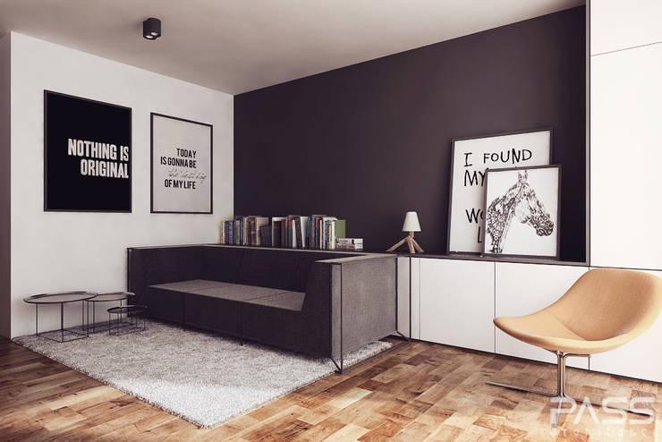 Projekt wnętrza w Lublinie /2: styl , w kategorii Salon zaprojektowany przez PASS architekci