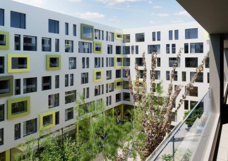 """Wettbewerb/Studienauftrag: Überbauung K2 – Projekt """"Greencube"""", Opfikon:  Häuser von Fröhlich Architektur AG"""