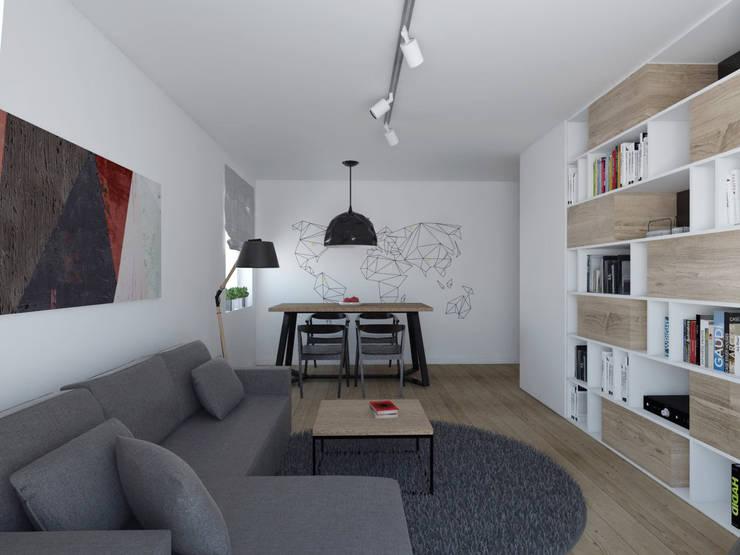 Projekt wnętrza w Lublinie /3: styl , w kategorii Salon zaprojektowany przez PASS architekci