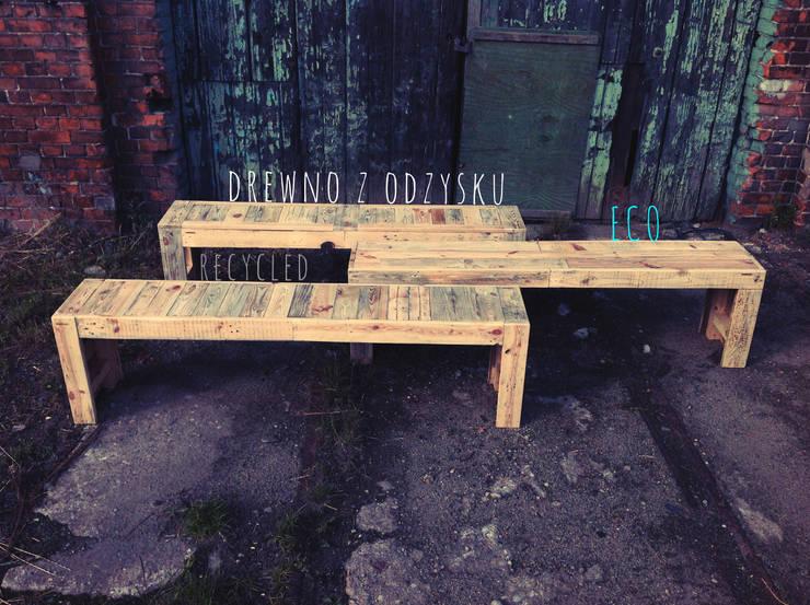 Drewniane Ławki: styl , w kategorii  zaprojektowany przez Treefabric,Industrialny Drewno O efekcie drewna